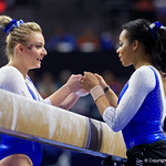 University of Florida Gators gymnists Alyssa Baumann and Kennedy Baker as the Gators host the University of Georgia Bulldogs in Exactech Arena at the Stephen C. O'Connell Center in Gainesville, Florida.  February 9th, 2018. Gator Country photo by David Bowie.