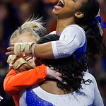University of Florida Gators gymnist Kennedy Baker scores a perfect 10 during her floor routine as the Gators host the University of Georgia Bulldogs in Exactech Arena at the Stephen C. O'Connell Center in Gainesville, Florida.  February 9th, 2018. Gator Country photo by David Bowie.