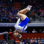 University of Florida Gators gymnist Alex McMurtry performing on the bars as the Gators host the University of Georgia Bulldogs in Exactech Arena at the Stephen C. O'Connell Center in Gainesville, Florida.  February 9th, 2018. Gator Country photo by David Bowie.