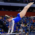 University of Florida Gators gymnist Jazmyn Foberg performing on the bars as the Gators host the University of Georgia Bulldogs in Exactech Arena at the Stephen C. O'Connell Center in Gainesville, Florida.  February 9th, 2018. Gator Country photo by David Bowie.