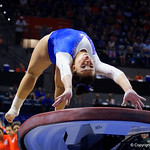 University of Florida Gators gymnist Maegan Chant performing on the vault as the Gators host the University of Georgia Bulldogs in Exactech Arena at the Stephen C. O'Connell Center in Gainesville, Florida.  February 9th, 2018. Gator Country photo by David Bowie.