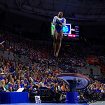 University of Florida Gators gymnist Alicia Boren performing on the vault as the Gators host the University of Georgia Bulldogs in Exactech Arena at the Stephen C. O'Connell Center in Gainesville, Florida.  February 9th, 2018. Gator Country photo by David Bowie.