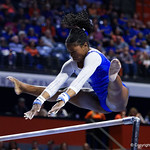 University of Florida Gators gymnist Alicia Boren performing on the bars as the Gators host the University of Georgia Bulldogs in Exactech Arena at the Stephen C. O'Connell Center in Gainesville, Florida.  February 9th, 2018. Gator Country photo by David Bowie.
