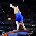University of Florida Gators gymnist Amelia Hundley performing on the vault as the Gators host the University of Georgia Bulldogs in Exactech Arena at the Stephen C. O'Connell Center in Gainesville, Florida.  February 9th, 2018. Gator Country photo by David Bowie.