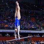 University of Florida Gators gymnist Megan Skaggs performing on the bars as the Gators host the University of Georgia Bulldogs in Exactech Arena at the Stephen C. O'Connell Center in Gainesville, Florida.  February 9th, 2018. Gator Country photo by David Bowie.