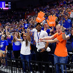 Florida Gators fans cheer on as the Gators host the University of Georgia Bulldogs in Exactech Arena at the Stephen C. O'Connell Center in Gainesville, Florida.  February 9th, 2018. Gator Country photo by David Bowie.