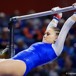 University of Florida Gators gymnist Rachel Slocum performing on the bars as the Gators host the University of Georgia Bulldogs in Exactech Arena at the Stephen C. O'Connell Center in Gainesville, Florida.  February 9th, 2018. Gator Country photo by David Bowie.