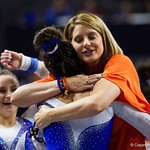 University of Florida Gators gymnastics head coach Jenny Rowland congratulates Rachel Slocum after her vault routine as the Gators host the University of Georgia Bulldogs in Exactech Arena at the Stephen C. O'Connell Center in Gainesville, Florida.  February 9th, 2018. Gator Country photo by David Bowie.