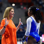 University of Florida Gators gymnastics head coach Jenny Rowland giving University of Florida Gators gymnist Alicia Boren a pep talk as the Gators host the University of Georgia Bulldogs in Exactech Arena at the Stephen C. O'Connell Center in Gainesville, Florida.  February 9th, 2018. Gator Country photo by David Bowie.