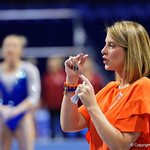 University of Florida Gators gymnastics head coach Jenny Rowland as the Gators host the University of Georgia Bulldogs in Exactech Arena at the Stephen C. O'Connell Center in Gainesville, Florida.  February 9th, 2018. Gator Country photo by David Bowie.