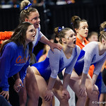 The Forida Gators cheer on as the Gators host the University of Georgia Bulldogs in Exactech Arena at the Stephen C. O'Connell Center in Gainesville, Florida.  February 9th, 2018. Gator Country photo by David Bowie.