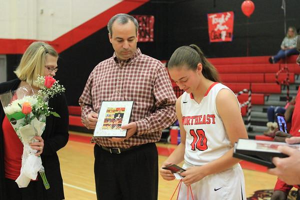 NE V Girls Basketball vs Gibbs Senior Night 1-25-18