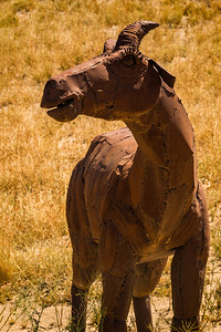 Big horn sheep metal sculpture at Anza-Borrego State Park in California