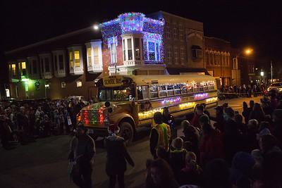 OSCI School Bus in Oskaloosa Christmas Parade 11-30-17