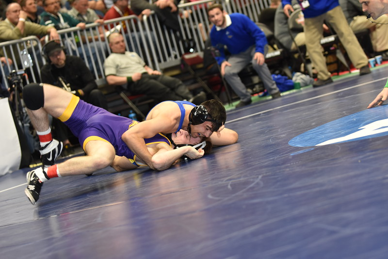 2018 NCAA Division I Championships<br /> 125 - Sergio Mendez (CSU Bakersfield) won by fall over Jacob Schwarm (Northern Iowa) (Fall 6:23)