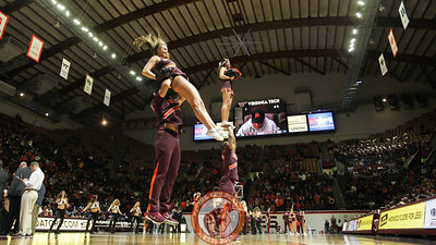 Virginia Tech cheerleaders perform for the crowd during a media timeout. (Mark Umansky/TheKeyPlay.com)