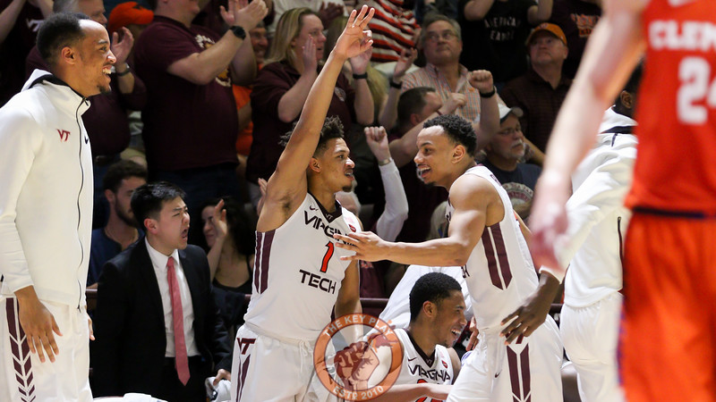 Tyrie Jackson (1) celebrates a Virginia Tech three point shot in the second half. (Mark Umansky/TheKeyPlay.com)