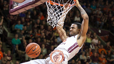 Nickeil Alexander-Walker dunks the ball near the end of the game on a Virginia Tech fast break. (Mark Umansky/TheKeyPlay.com)