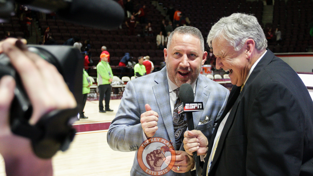 Head coach Buzz Williams speaks with ESPN after the final buzzer. The Hokies won in their home opener 111-79. (Mark Umansky/TheKeyPlay.com)