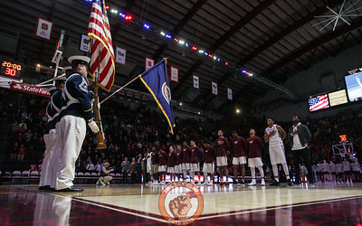 The national anthem is played before the opening tip of the 2017-2018 season. (Mark Umansky/TheKeyPlay.com)