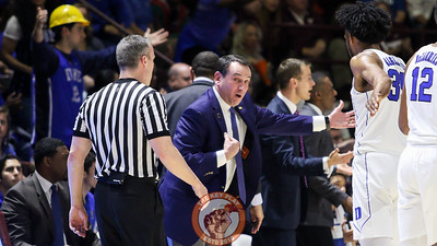 Duke head coach Mike Krzyzewki argues with a referee after a foul was called on his players. (Mark Umansky/TheKeyPlay.com)