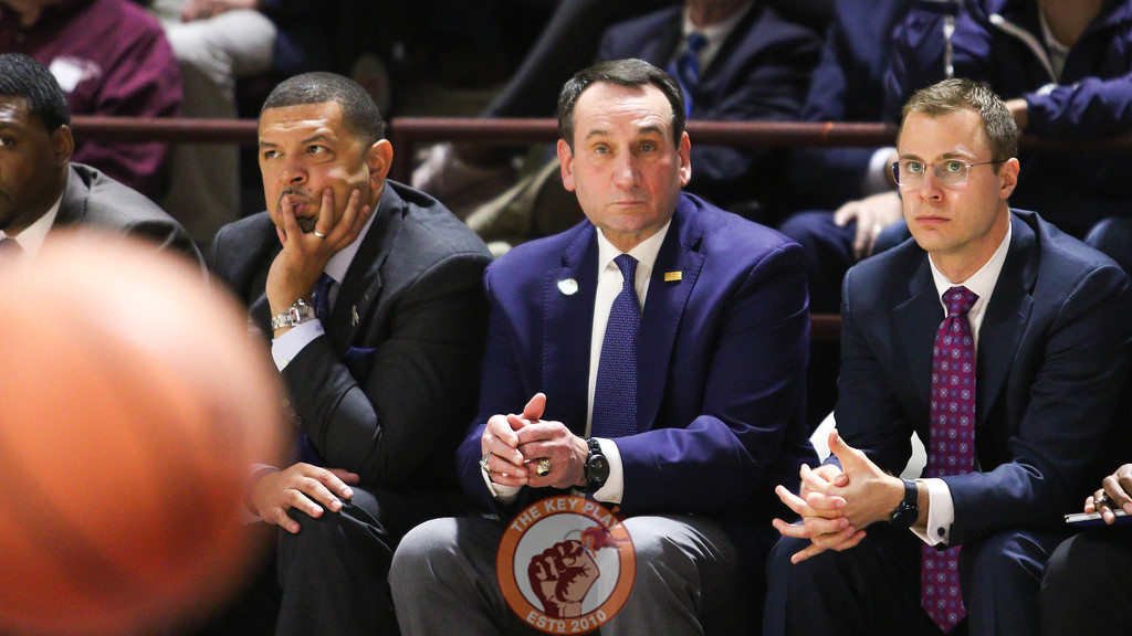 Duke head coach Mike Krzyzewki watches the game from the bench during the first half. (Mark Umansky/TheKeyPlay.com)