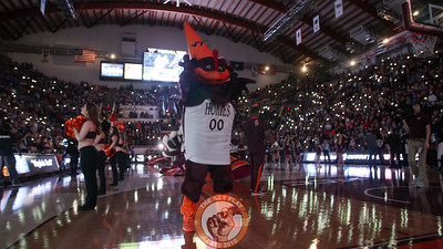 The Hokiebird dances with a cheerleading megaphone on his head during the team introductions. (Mark Umansky/TheKeyPlay.com)