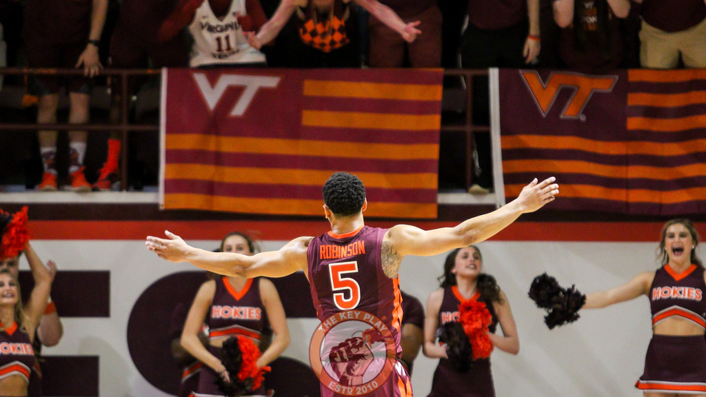 Justin Robinson appeals to the crowd after the Hokies go on a run to force a Duke timeout. (Mark Umansky/TheKeyPlay.com)