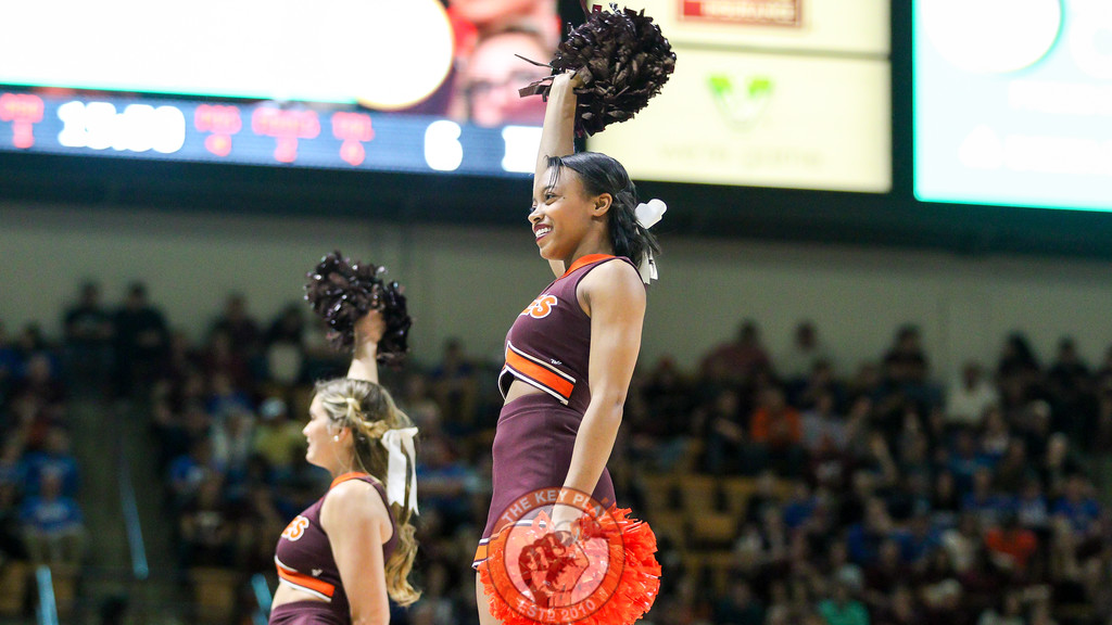 The Virginia Tech cheerleaders perform for the crowd during the first media timeout. (Mark Umansky/TheKeyPlay.com)