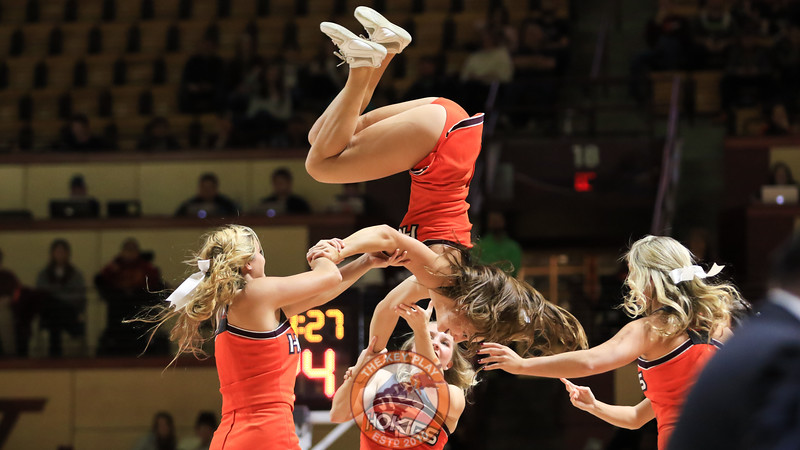 The Virginia Tech cheerleaders perform for the crowd during a media timeout in the first half. (Mark Umansky/TheKeyPlay.com)