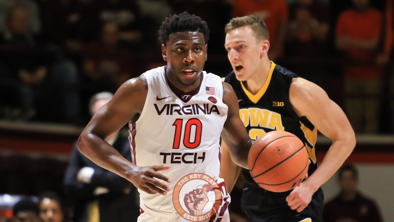 Justin Bibbs quickly dribbles the ball downcourt during a Virginia Tech possesion. (Mark Umansky/TheKeyPlay.com)