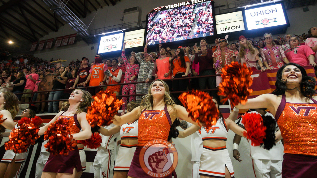 The Hokies High Techs and Cheerleaders jump to Enter Sandman in front of the student section before tipoff. (Mark Umansky/TheKeyPlay.com)