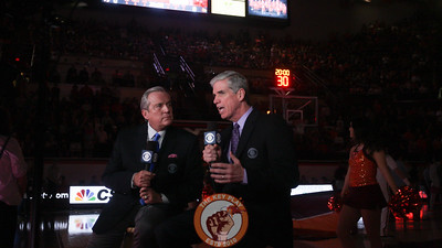 CBS commentators Brad Nessler and Jim Spanarkel run through their pregame portion as the Hokies starting lineups are announced. (Mark Umansky/TheKeyPlay.com)