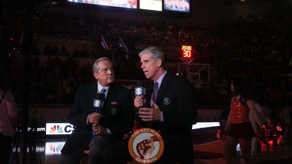 CBS commentators Brad Nessler and Jim Spanarkel run through their pregame portion as the Hokies starting lineups are announced. (Mark Umansky/TheKeyPlay.com)