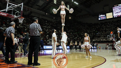 The Virginia Tech Cheerleaders perform for the crowd during a timeout. (Mark Umansky/TheKeyPlay.com)