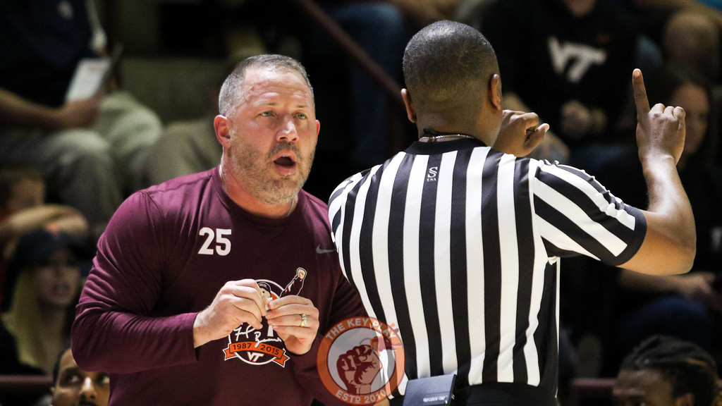 Head coach Buzz Williams speaks with a referee after a foul is called against Virginia Tech. (Mark Umansky/TheKeyPlay.com)
