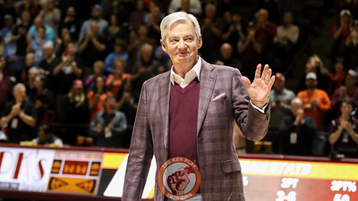 Former Virginia Tech football coach Frank Beamer is honored during a media timeout on his recent induction into the College Football Hall of Fame. (Mark Umansky/TheKeyPlay.com)