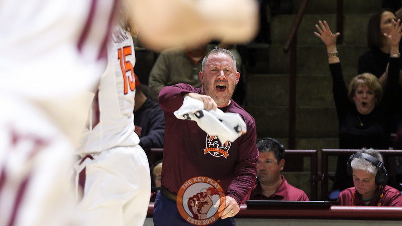 Head coach Buzz Williams reacts after a Virginia Tech basket in the second half. (Mark Umansky/TheKeyPlay.com)