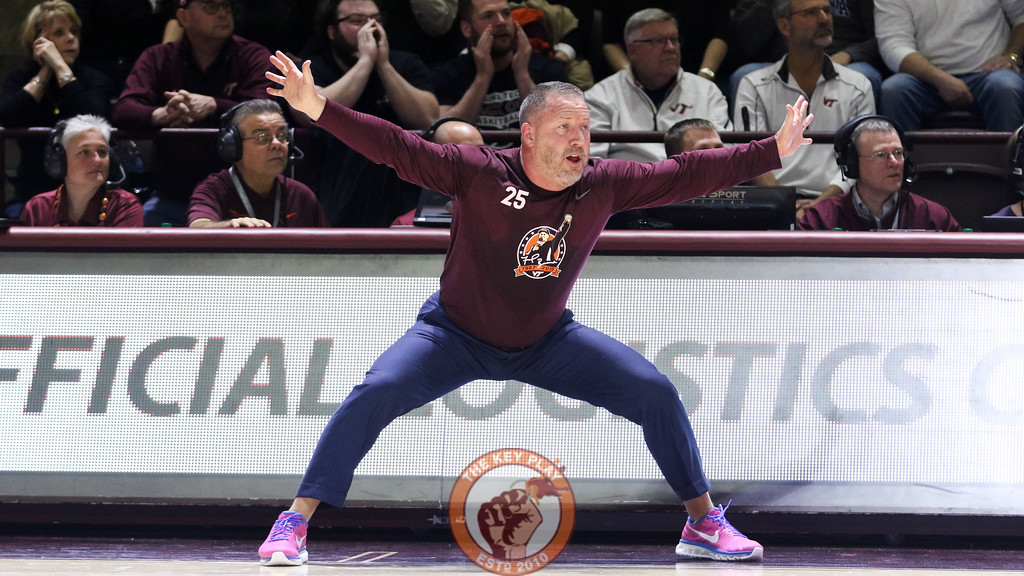 Head coach Buzz Williams is animated as he signals to his players on defense. (Mark Umansky/TheKeyPlay.com)