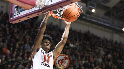 Ahmed Hill dunks the ball on a Virginia Tech fast break. (Mark Umansky/TheKeyPlay.com)