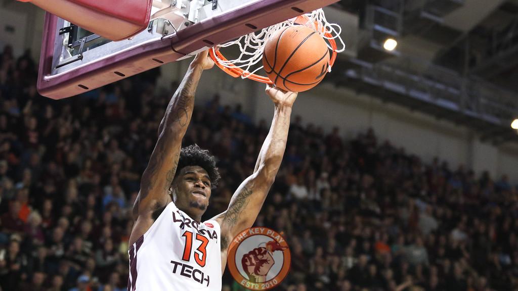 Ahmed Hill dunks the ball on a Virginia Tech fast break. (Mark Umansky/TheKeyPlay.com)
