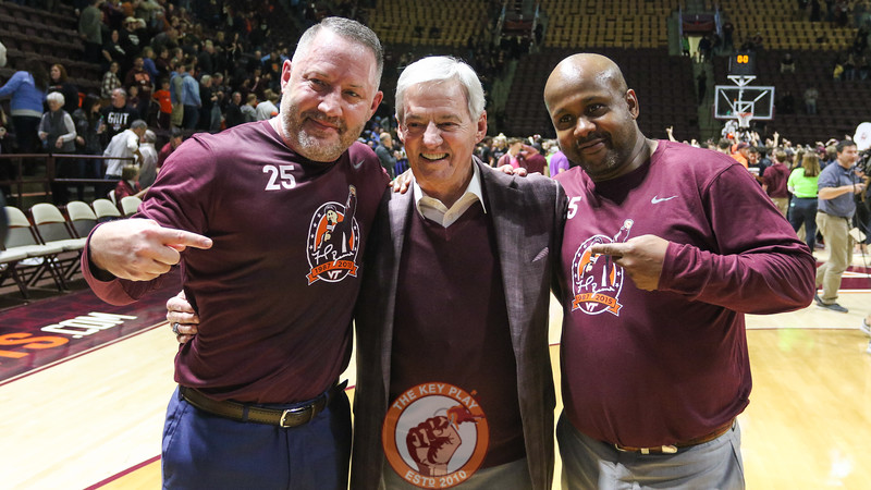 Former Virginia Tech football coach Frank Beamer poses for photos after the game. (Mark Umansky/TheKeyPlay.com)