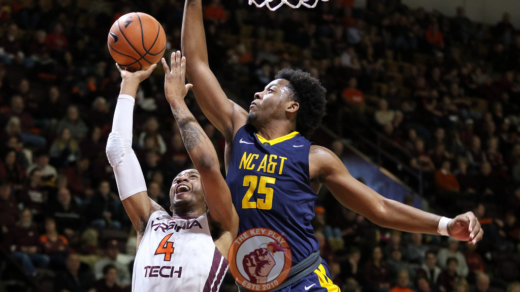 Nickeil Alexander-Walker is fouled as he attempts a layup in the second half. (Mark Umansky/TheKeyPlay.com)