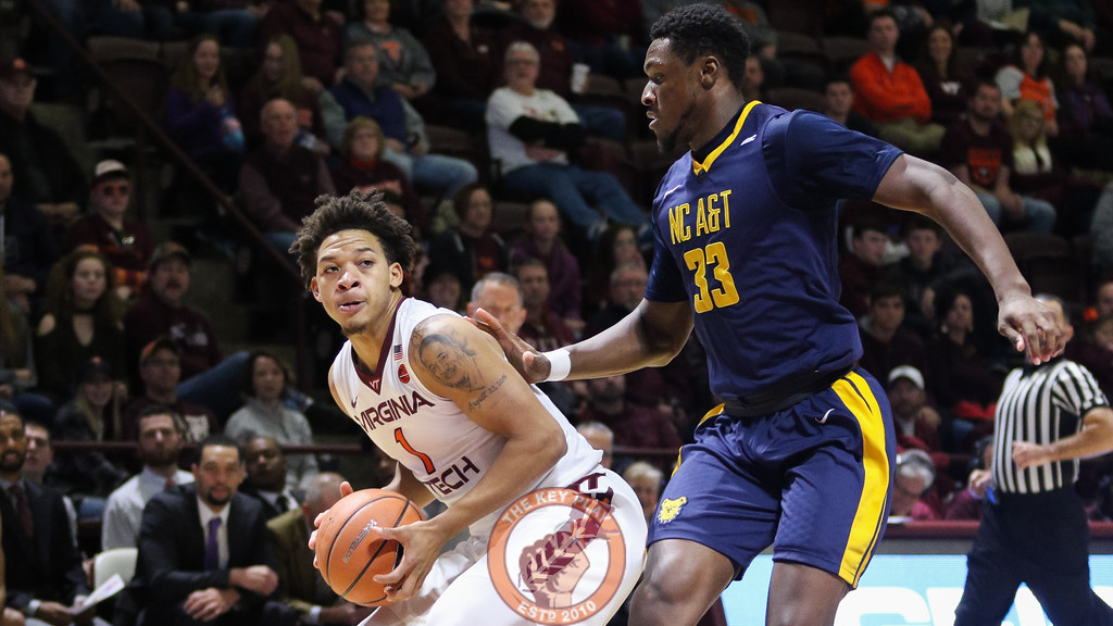Tyrie Jackson picks up his dribble underneath the NC A&T basket late in the game. (Mark Umansky/TheKeyPlay.com)