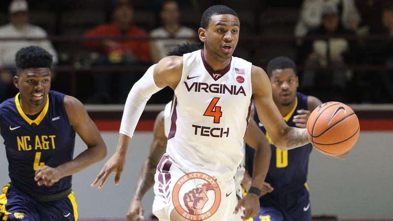 Nickeil Alexander-Walker dribbles the ball down the court after a Virginia Tech defensive rebound. (Mark Umansky/TheKeyPlay.com)