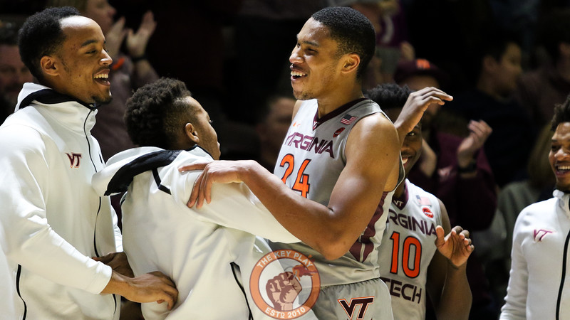 Kerry Blackshear Jr. celebrates as he heads to the bench at the end of the game. He led all scorers with 31 points as Virginia Tech defeated Pittsburgh 81-67. (Mark Umansky/TheKeyPlay.com)