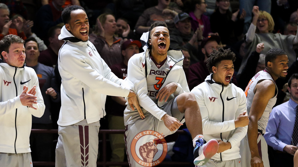 Wabissa Bede (center) celebrates after a Virginia Tech three point shot lands in the second half. (Mark Umansky/TheKeyPlay.com)
