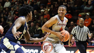 Nickeil Alexander-Walker picks up his dribble underneath the Pitt basket. (Mark Umansky/TheKeyPlay.com)