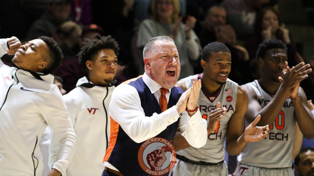 Head coach Buzz Williams claps after the Hokies make a good play on offense in the second half. (Mark Umansky/TheKeyPlay.com)