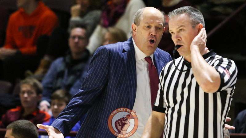 Pittsburgh head coach Kevin Stallings complains about a no-call to a referee in the first half. (Mark Umansky/TheKeyPlay.com)